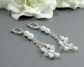"Crystal and Pearl Earrings - ""Fire and Ice"" Bridal Earrings w White Pearls, Wedding Jewelry, Cascade Drops, Long Earrings"