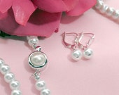 """Classic Pearl Jewelry Set - White Pearl Necklace, Earrings, Bracelet for Weddings or Special Occasions - """"Maggie"""""""