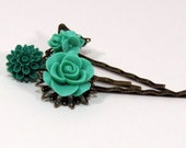 Jade and Emerald Green Floral Hairpins