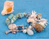 Oceanus Charm Bracelet with Pearls, Shells, Crystal, and Glass