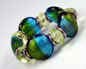 Blue and Green Bracelet, Foiled Lampwork Glass Beads, Aqua and Peridot Beaded Bracelet, Elastic Stretch Bracelet, Colorful Jewelry