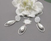 "Bridal Jewelry Set - ""Camille"" Pearl Necklace and Earrings, White Pearl Teardrops, Flower Dangle, Wedding Jewelry"