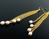 "Cultured Pearl Earrings, XLong Shoulder Sweepers - ""Swept Away"" White Pearl Cascade Earrings, Handmade"
