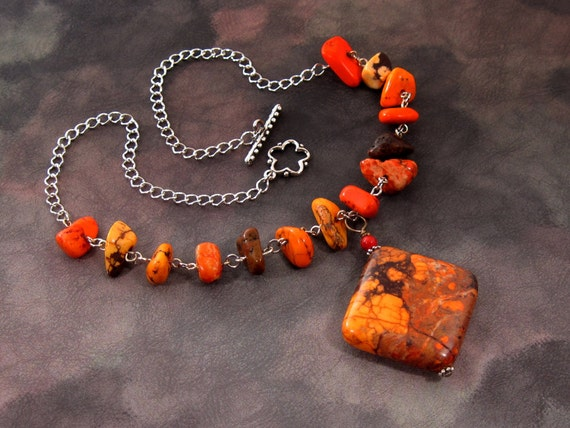 "Orange Necklace, Color Enchanced Howlite - ""Orange Fyre Fairie"" Stone Necklace"