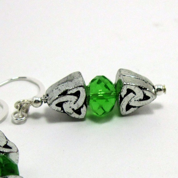 Celtic Knot Drop Earrings Sterling w Green Crystal  - Past, Present, Future