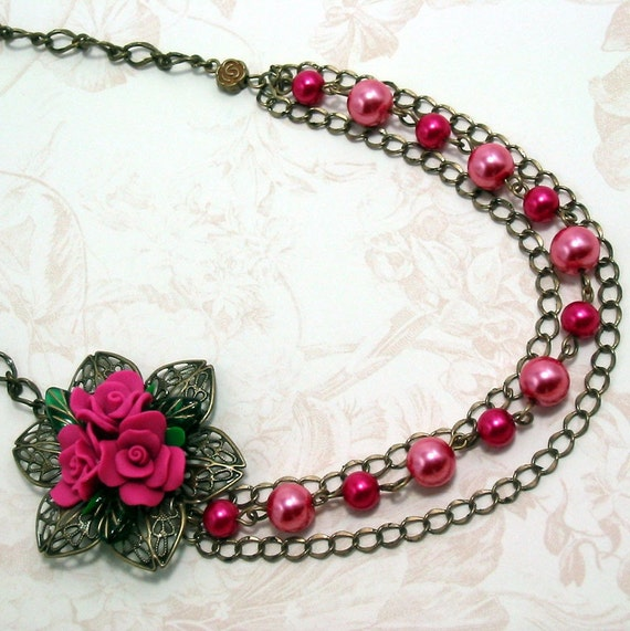 "Victorian Rose Necklace w Pink Faux Pearls on Brass - ""Rosalyn"" Victorian Necklace, Bright Pink Roses, Pearl Necklace, Pink Necklace"