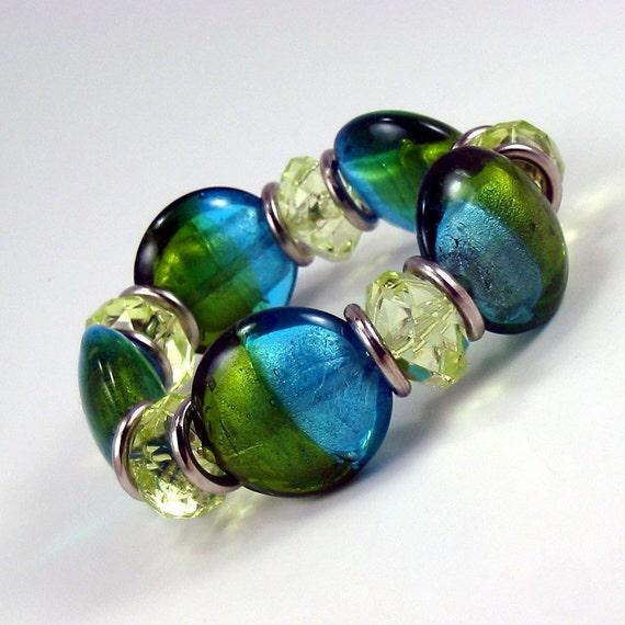 Blue and Green Bracelet, Foiled Lampwork Glass Beads, Aqua and Peridot Beaded Bracelet, Elastic Stretch Bracelet, Colorful Jewelry