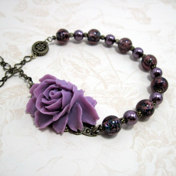 "Purple Rose Necklace - ""Reverie in Indigo"", Victorian Style Beaded Necklace, Pearl and Glass Jewelry"