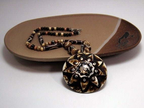 "Tribal Pendant and Beaded Necklace - ""Mbali"" Brown and Beige Ceramic Pendant w Organic Bead Necklace"