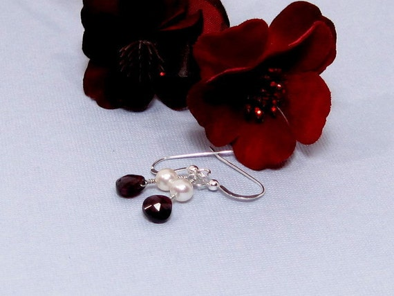 Pearl and Garnet Earrings with Sterling Silver - Margaux