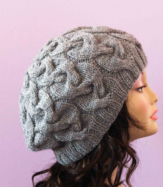 Slouchy Knit Light Grey Heather Cabled Hat