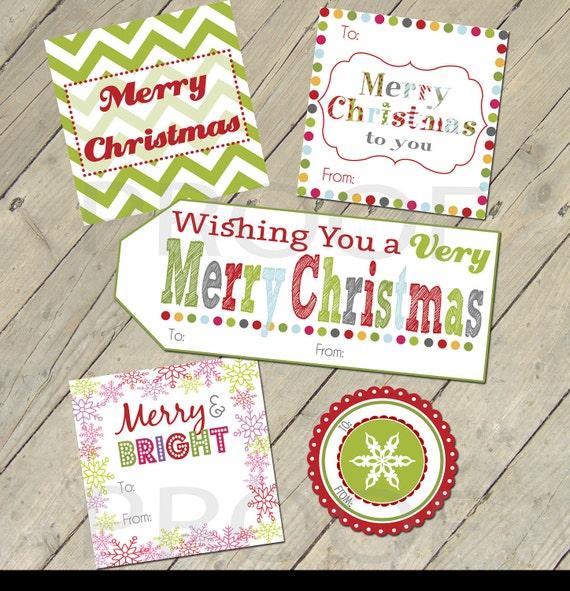 Items similar to Printable Gift Tags - Colorful Christmas ...