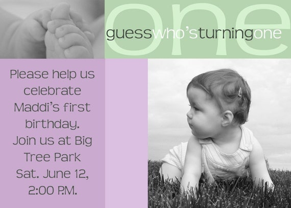 Look Who's Turning One.   Birthday photo card invitation for your child.