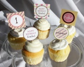 POLKA DOT & STRIPES Printable Cupcake Toppers - Girl
