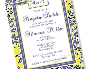 BLUE & YELLOW DAMASK Printable Party Invitation Printing Available