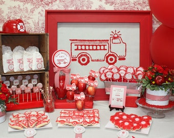 RED FIRETRUCK Printable Party Decor Package and Invitation