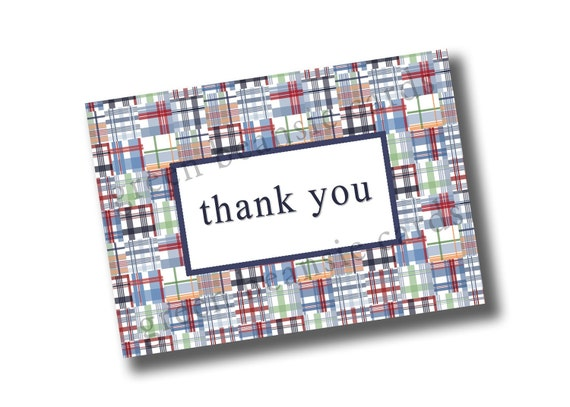"BLUE MADRAS Printable Thank You Card - 4"" x 5.5"" or 5"" x 7"" - you print"