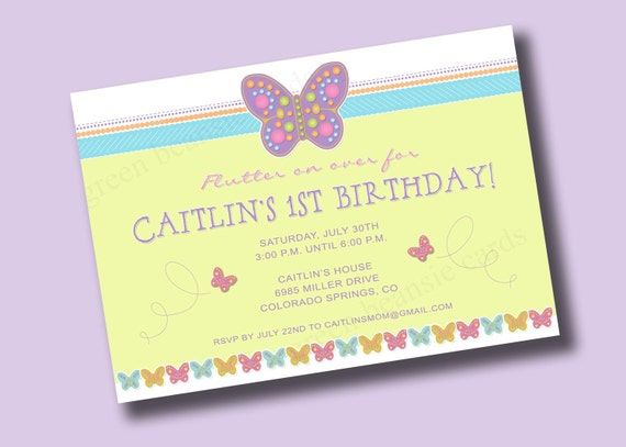 SPRING BUTTERFLY Printable Party Invitation - Matching Cookies Available Printing Available