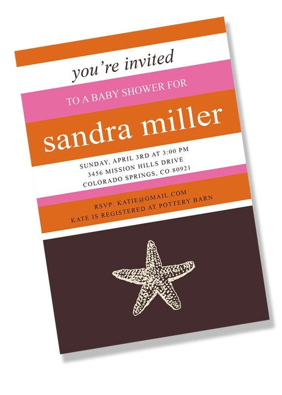 NAUTICAL STARFISH Printable or Printed Party Invitation - Pink, Orange, and Brown
