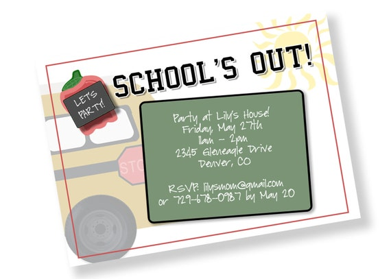 School Is Out Printable Party Invitation Matching Cookies