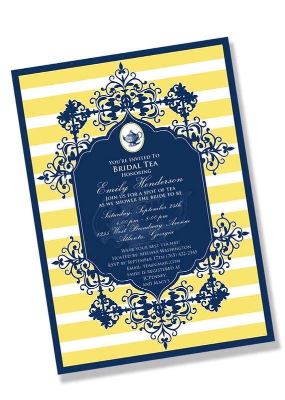 FORMAL TEA Printable Party Invitation - Blue and Yellow Printing Available