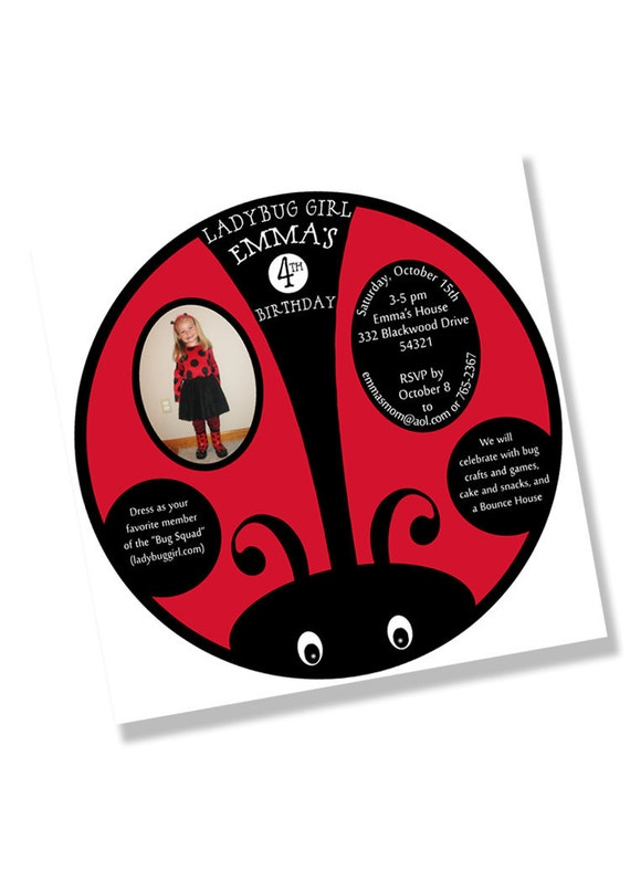 LADYBUG SQUARE Party Invitation - Red and Black Printing Available