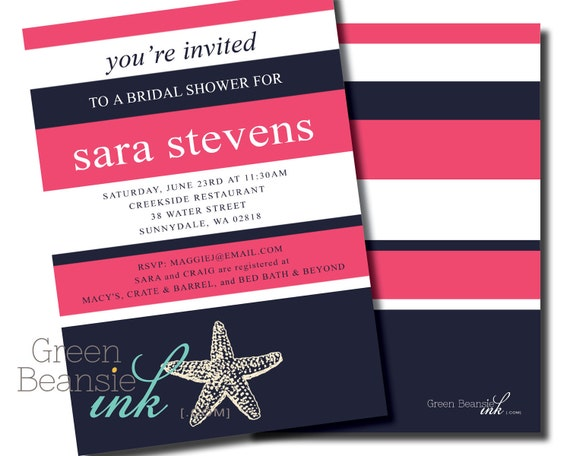 NAUTICAL STARFISH Printable Party Invitation - Pink and Navy Blue Printing Available