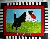 Flyin High - Dog with Frisbee Folk Art wall art