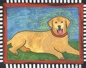Yellow lab folk art magnet 2.5 x 1.5