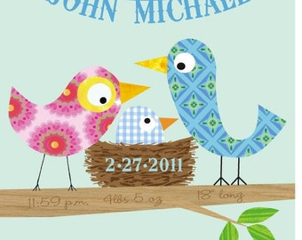 Kids wall art-Personalized Baby Boy Bird  Art Print