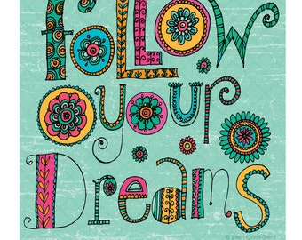 Wall art-Typography-Follow your dreams-
