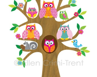 Kids Wall Art- Owls in tree for girls Illustration
