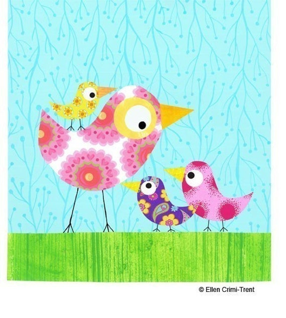 Mothers Day Wall Art Mother And 3 Birds Nursery Decor
