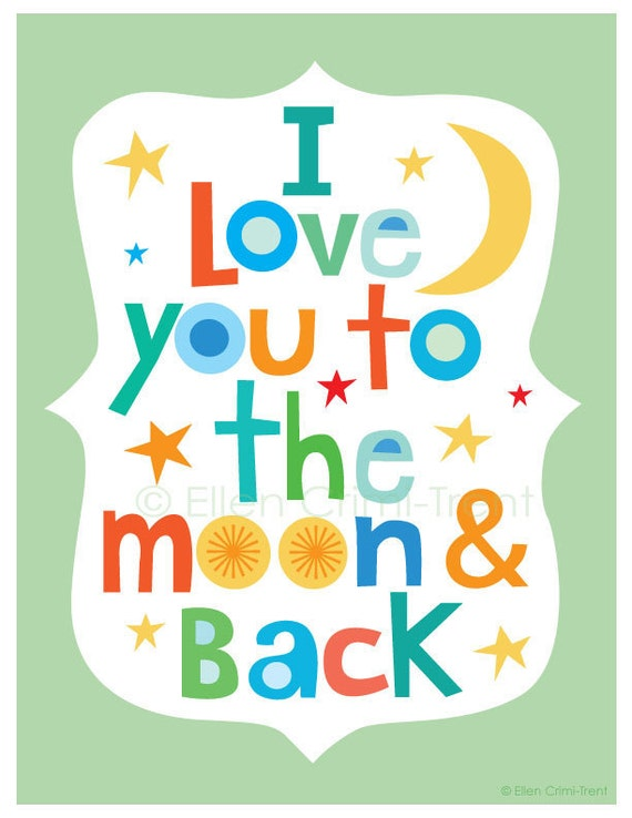 kids wall art typography i love you to the moon and back. Black Bedroom Furniture Sets. Home Design Ideas
