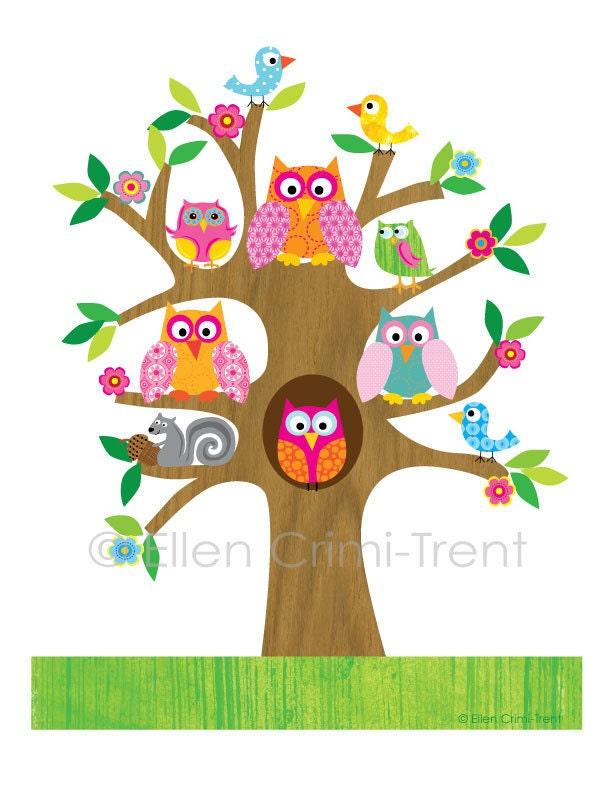 Conosciuto Bambini Wall Art gufi in albero per ragazze illustrazione GD44