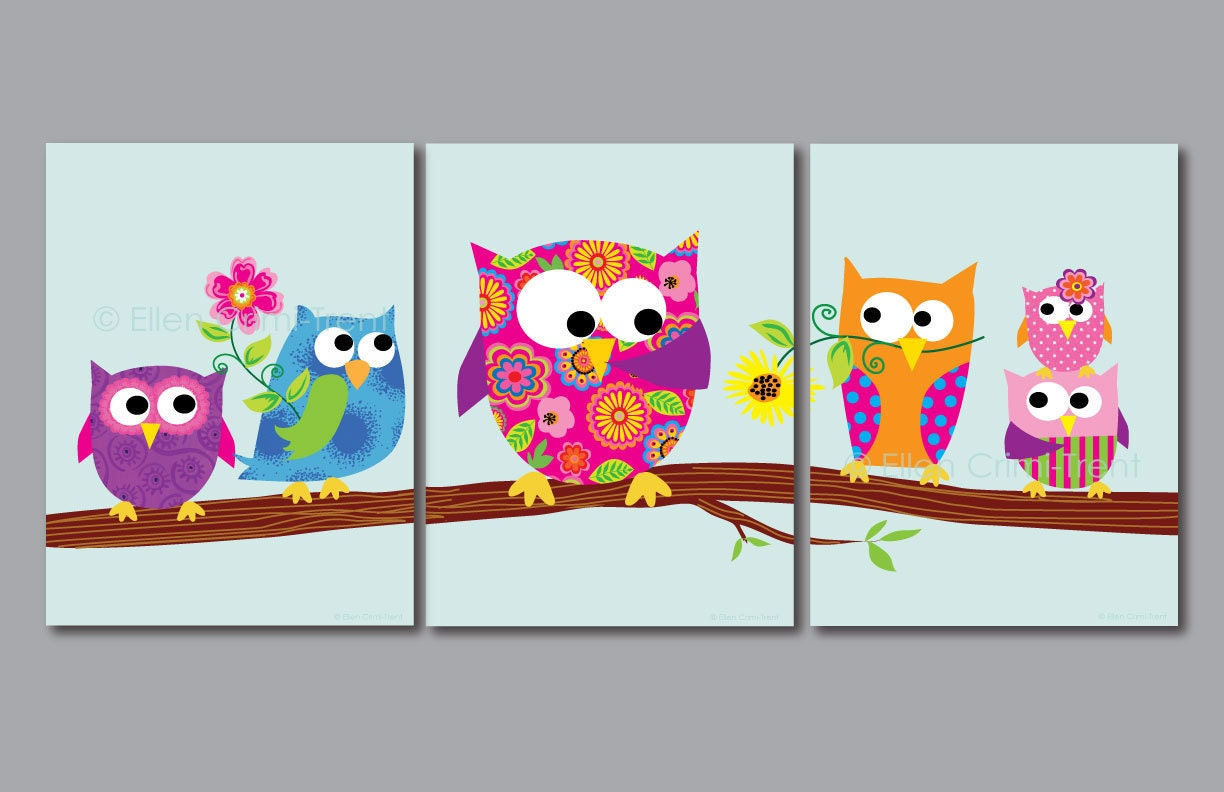 Kids wall art print set owls for girls kids decor for Children s bathroom designs
