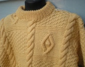 3-Cable, Diamond and Popcorn Pullover, Size 6