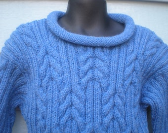 Rolled Collar Cabled Pullover, Size 4 / 5