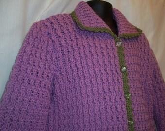 Hand Knit Child's Lavender Purple Knit Jacket, Size 5