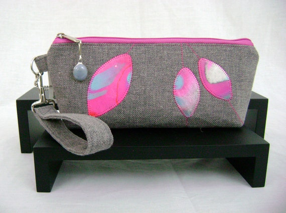 Clutch Wristlet - Hand Painted Appliques - Raspberry Ice