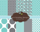 Digital Scrapbook Paper Personal and Commercial Use - Blue and Grey Medley