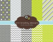 80% OFF SALE Digital Scrapbooking Papers Lime Green and Charcoal Paper Pack Personal & Commercial Use