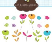 Flower Clipart Clip Art Personal and Commercial Use Petals and Stems