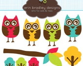 Owl and Tree Clipart Clip Art Personal & Commercial Use