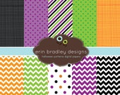 Halloween Digital Paper Pack Personal & Commercial Use Polka Dots and Chevron Stripes