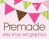 Premade Etsy Shop Banner Avatar Business Card and Logo Design Set Preppy Pink and Green Bunting