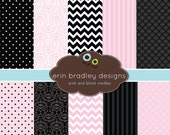 Pink and Black Digital Papers Set Printable Papers Personal & Commercial Use INSTANT DOWNLOAD