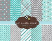 Digital Scrapbook Papers Personal and Commercial Use Blue and Grey Medley
