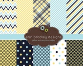 Yellow and Navy Blue Digital Paper Set Personal and Commercial Use