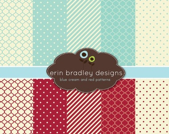 50% OFF SALE Digital Paper Pack Personal & Commercial Use Blue Red and Cream Patterns Instant Download